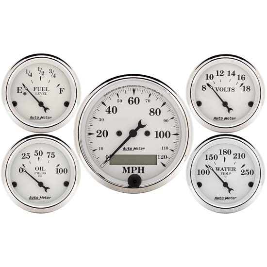 AutoMeter 1602 Old-Tyme White 5 Piece Gauge Set,Elec. Speedometer