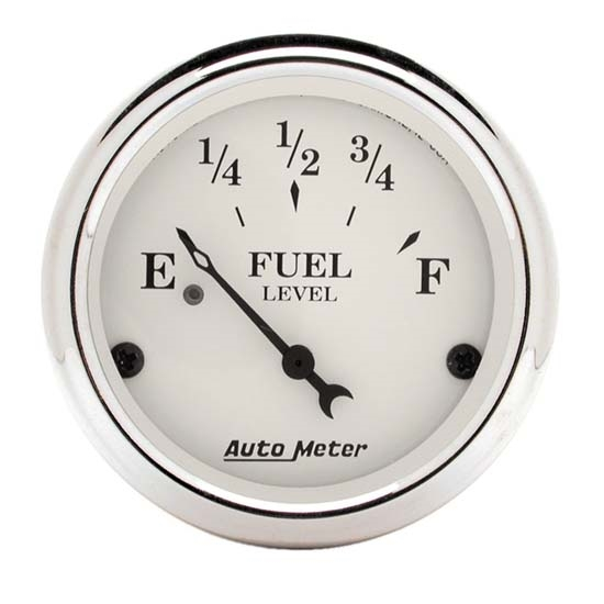 Auto Meter 1606 Old-Tyme White Air-Core Fuel Level Gauge, 2-1/16 Inch