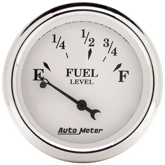 Auto Meter 1607 Old-Tyme White Air-Core Fuel Level Gauge, 2-1/16 Inch