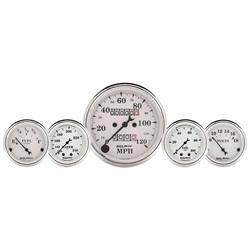 Auto Meter 1611 Old-Tyme White 5 Piece Gauge Set, Mechanical