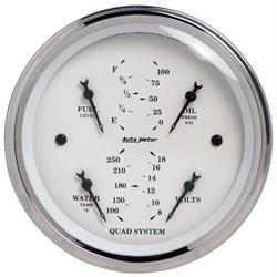 Auto Meter 1612 Old-Tyme White Air-Core Electric Quad Gauge, 3-3/8