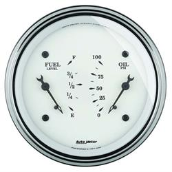 Auto Meter 1613 Old-Tyme White Air-Core Electric Dual Gauge, 3-3/8
