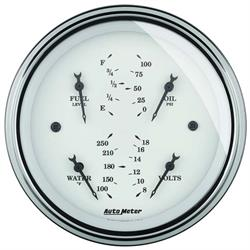 Auto Meter 1614 Old-Tyme White Air-Core Electric Quad Gauge, 3-3/8