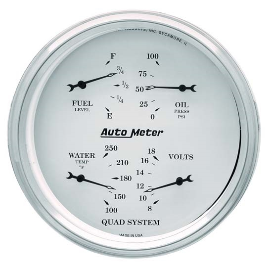 Auto Meter 1619 Old-Tyme White Air-Core Electric Quad Gauge, 5 Inch