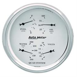 AutoMeter 1619 Old-Tyme White Air-Core Electric Quad Gauge,5 Inch