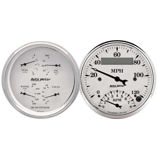 AutoMeter 1620 Old-Tyme White Air-Core 2 Piece Gauge Set, 3-3/8