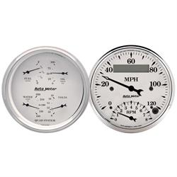 Auto Meter 1620 Old-Tyme White Air-Core 2 Piece Gauge Set, 3-3/8 Inch