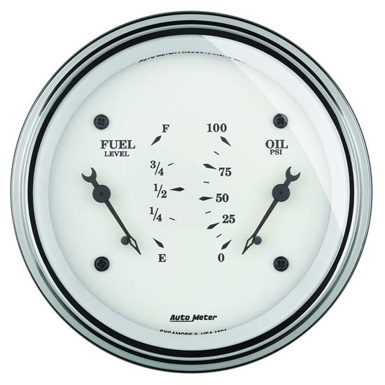 Auto Meter 1624 Old-Tyme White Air-Core Electric Dual Gauge, 3-3/8