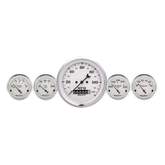 Auto Meter 1640 Old-Tyme White 5 Piece Gauge Set, Electric