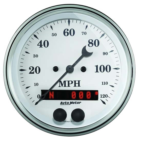 AutoMeter 1649 Old-Tyme Air-Core GPS Speedometer, 3-3/8 Inch, WHT