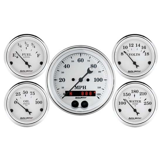 Car Gauges Set : Auto meter old tyme white piece gps gauge set