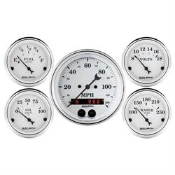 Auto Meter 1650 Old-Tyme White 5 Piece GPS Gauge Set