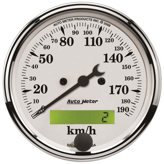 AutoMeter 1688-M Old-Tyme White Air-Core Speedometer, 3-1/8 Inch