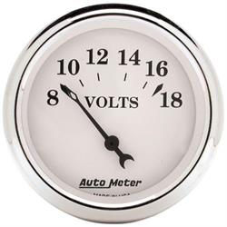 Auto Meter 1692 Old-Tyme White Air-Core Voltmeter Gauge, 2-1/16 Inch