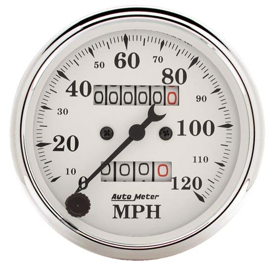 AutoMeter 1693 Old-Tyme White Air-Core Mech. Speedometer,3-1/8