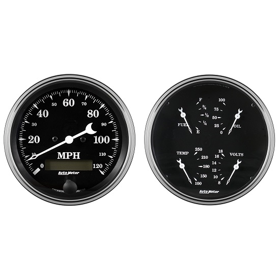 Auto Meter 1703 Old Tyme Black Gauge Kit, 5 In Quad & Speedometer