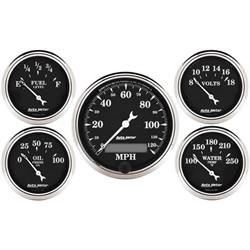 Auto Meter 1709 Old Tyme Black 5 Piece Gauge Set, Electric Speedometer