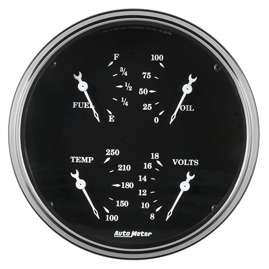 "Auto Meter 1710 Old Tyme Black, 5"" Quad Gauge"