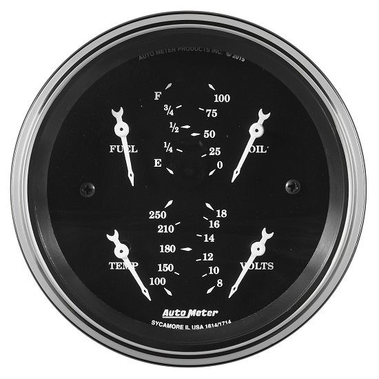 "Auto Meter 1714 Old Tyme Black, 3-3/8"" Quad Gauge"