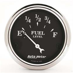 Auto Meter 1715 Old Tyme Black Air-Core Fuel Level Gauge, 2-1/16 Inch