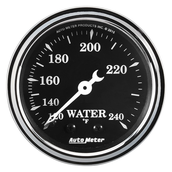 "Auto Meter 1733 Old Tyme Black, 2-1/16"" Water Temperature, Mechanical"