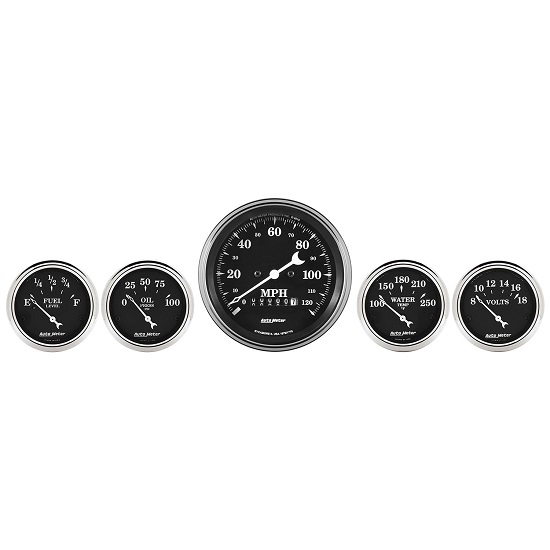"Auto Meter 1740 Old Tyme Black, 3-3/8"" & 2-1/16"" Electric Speedometer"