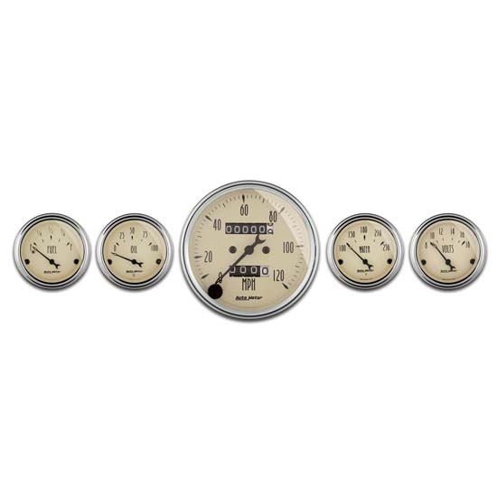 Auto Meter 1808 Antique Beige 5 Piece Gauge Kit