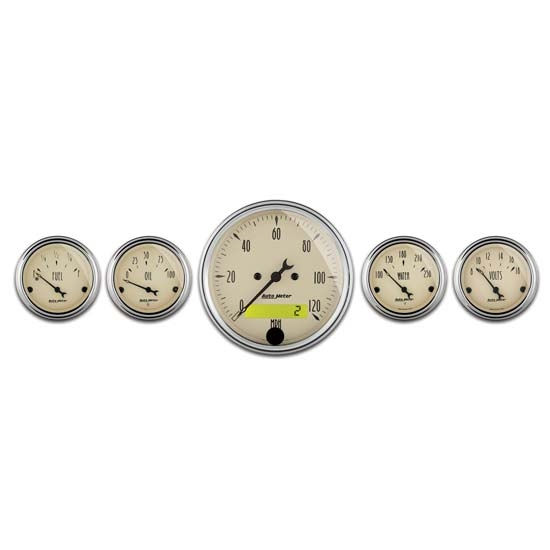 Auto Meter 1809 Antique Beige 5 Piece Gauge Kit