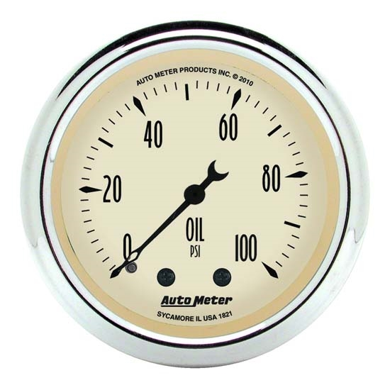 Auto Meter 1821 Antique Beige Mechanical Oil Pressure Gauge