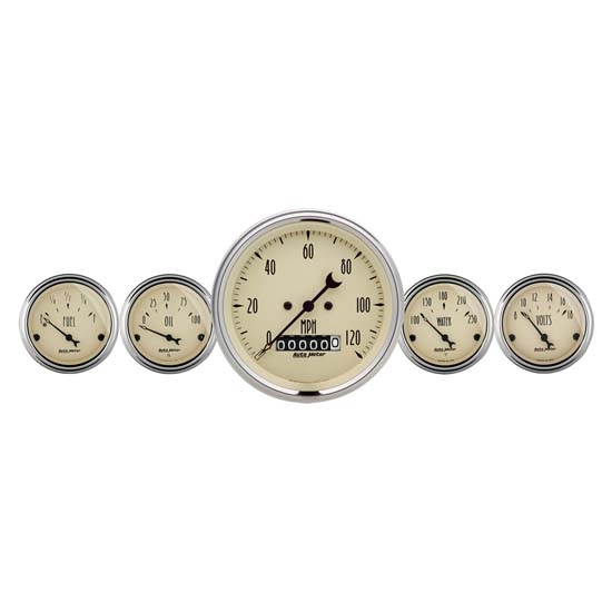 Auto Meter 1840 Antique Beige 5 Piece Gauge Kit