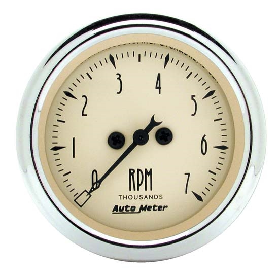 Auto Meter 1897 Antique Beige Air-Core In-Dash Tachometer Gauge