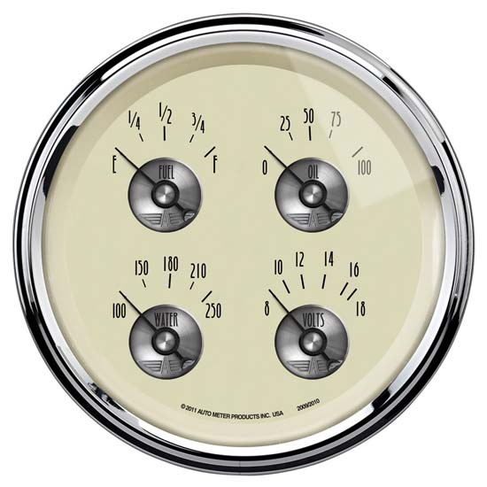 Auto Meter 2009 Prestige Antique Ivory Air-Core Quad Gauge, 5 Inch