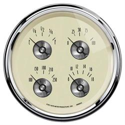 AutoMeter 2009 Prestige Antique Ivory Air-Core Quad Gauge, 5 Inch