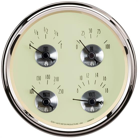 Auto Meter 2010 Prestige Antique Ivory Air-Core Quad Gauge, 5 Inch