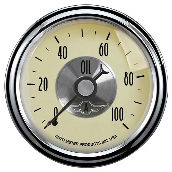 AutoMeter 2021 Prestige Antique Ivory Mechanical Oil Press  Gauge