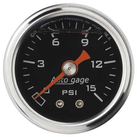 Auto Meter 2172 Auto Gage Mechanical Pressure Gauge, 1-1/2 Inch, 0-15