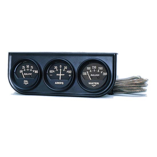 Auto Meter 2347 Auto Gage Mechanical 3 Gauge Console, Oil/Amp/Water