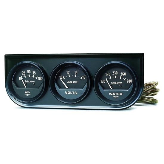 Auto Meter 2348 Auto Gage Mechanical 3 Gauge Console, Oil/Water/Volt