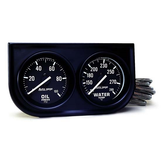 Auto Meter 2392 Auto Gage Mechanical 2 Gauge Console, Oil/Water