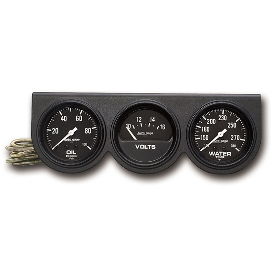 AutoMeter 2398 Auto Gage 3 Gauge Console, Oil/Volt/Water
