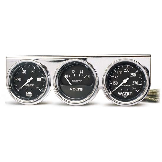 Auto Meter 2399 Auto Gage 3 Gauge Console, Oil/Volt/Water