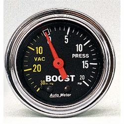 Auto Meter 2401 Traditional Chrome Mechanical Boost/Vacuum Gauge