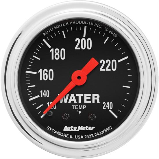 AutoMeter 2432 Trad. Chrome Mechanical Water Temperature Gauge