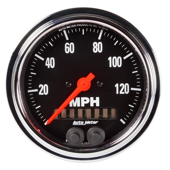 Auto Meter 2480 Traditional Chrome Speedometer, 3-3/8, 0-140 MPH, Flat