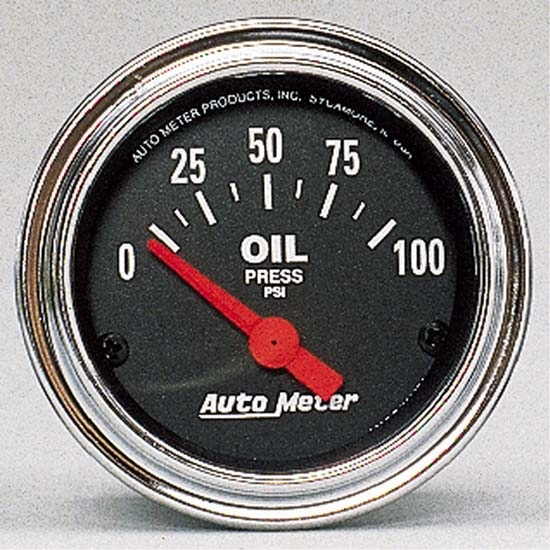 Auto Meter 2522 Traditional Chrome Air-Core Oil Pressure Gauge