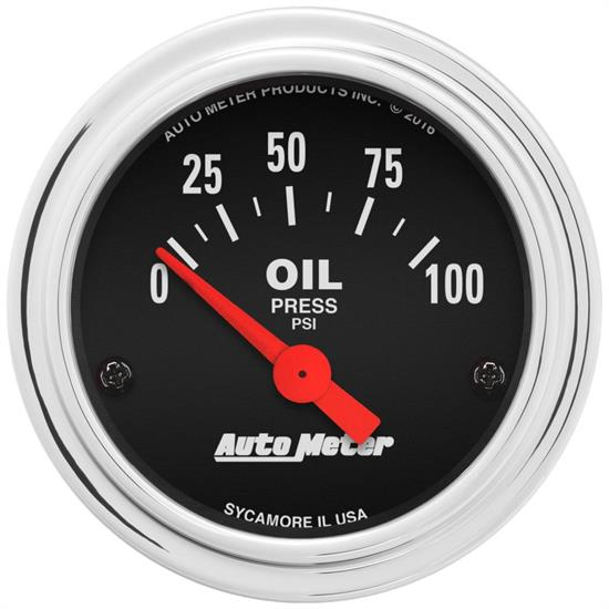 AutoMeter 2522 Traditional Chrome Air-Core Oil Press  Gauge
