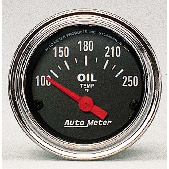 Auto Meter 2542 Traditional Chrome Air-Core Oil Temperature Gauge