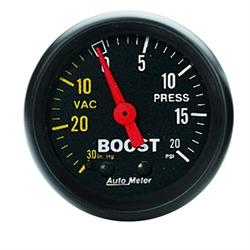 Auto Meter 2601 Z-Series Mechanical Boost/Vacuum Gauge, 2-1/16 Inch