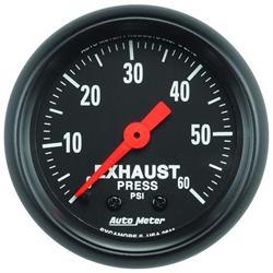 Auto Meter 2611 Z-Series Mech Exhaust Pressure Gauge, 60 PSI, 2-1/16