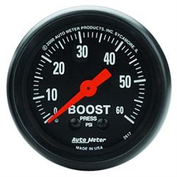 Auto Meter 2617 Z-Series Mechanical Boost Gauge, 60 PSI, 2-1/16 Inch